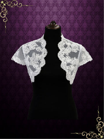Short Cap Sleeves Lace Shrug Bolero Jacket | SG1008