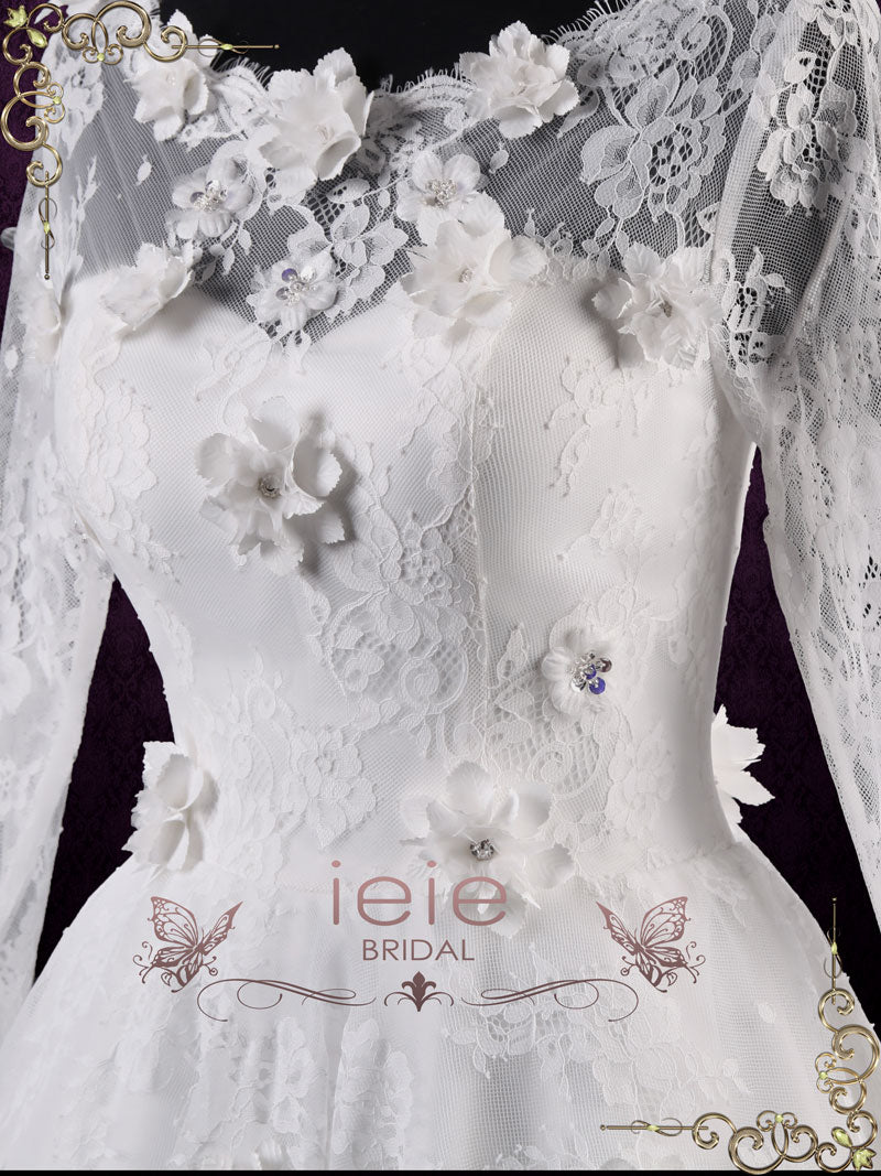 Short Lace Wedding Dress with Long Sleeves | Josette