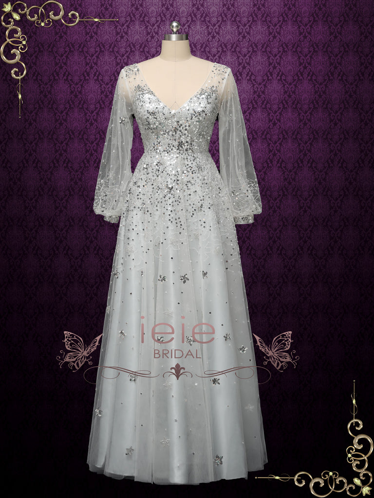 Silver Galaxy Themed Formal Evening Dress STARLIT