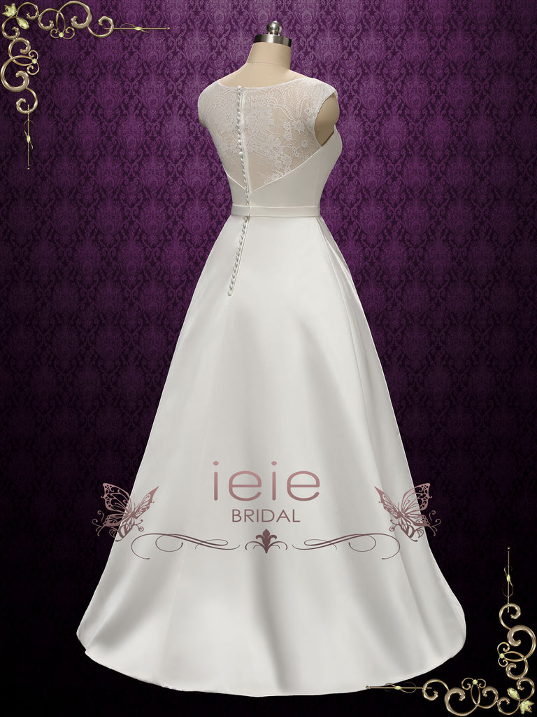 Simple Elegant A-line Wedding Dress with Lace Top | ESSEX
