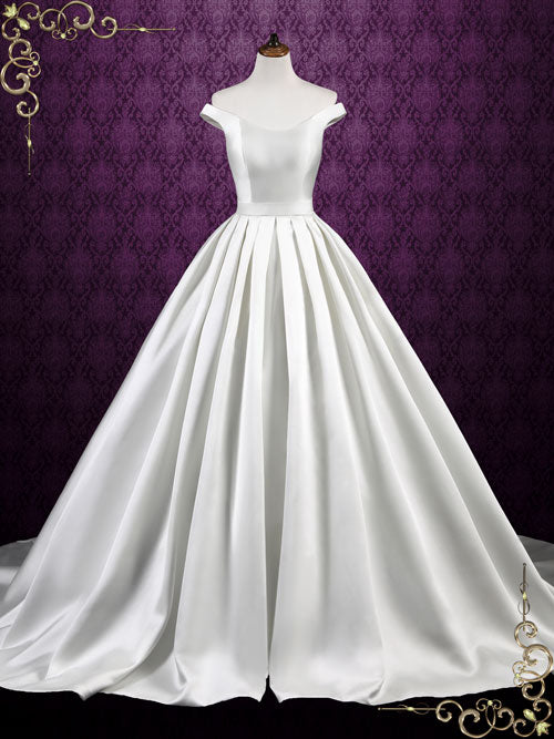 simple elegant satin ball gown wedding dress with off shoulder straps luisa
