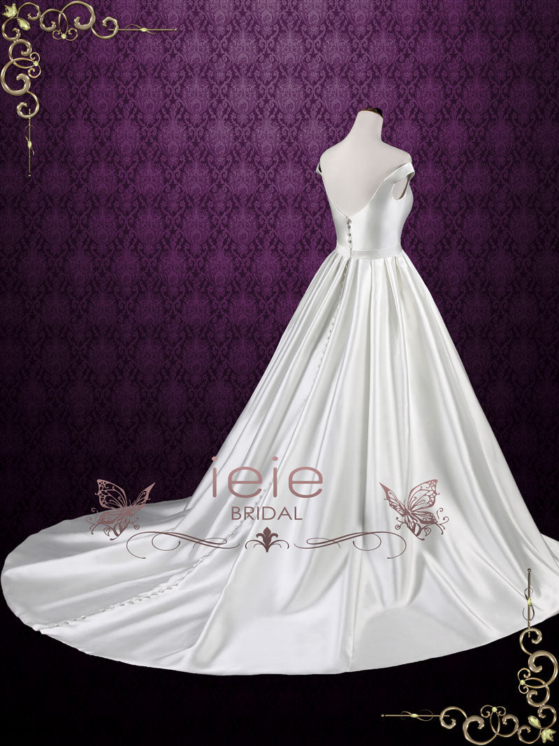 Simple Elegant Satin Ball Gown Wedding Dress with Off Shoulder ...