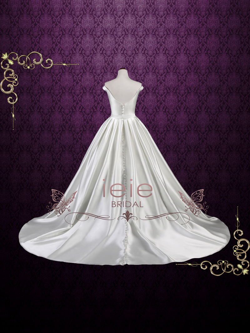Simple Elegant Satin Ball Gown Wedding Dress With Off