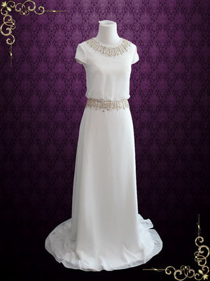 Simple Yet Elegant Chiffon Wedding Dress with Cap Sleeves | Leah