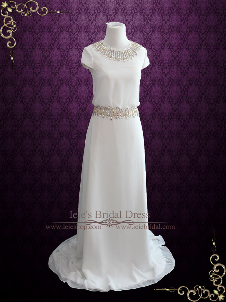 Simple Yet Elegant Chiffon Wedding Dress with Cap Sleeves LEA