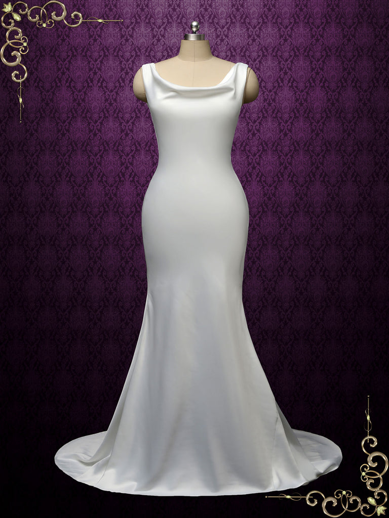 Simple Minimalist Wedding Dress with Cowl Neckline RAYN