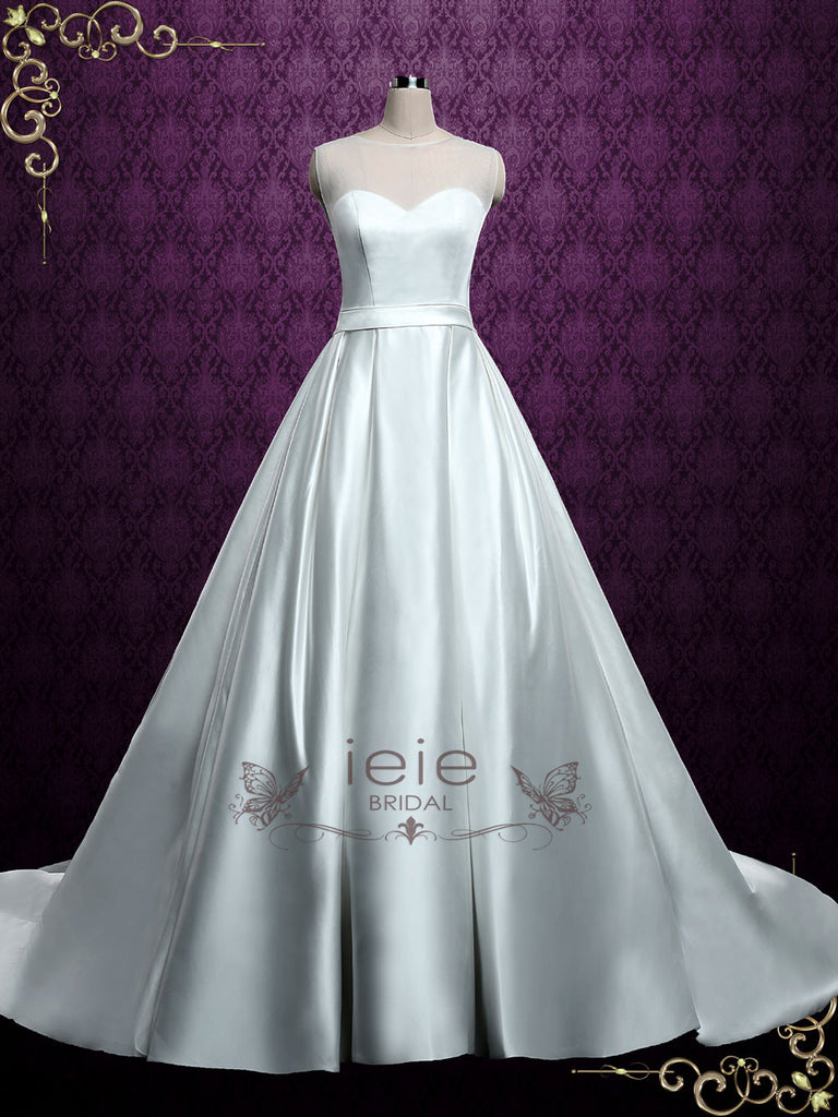 Plain Satin Ball Gown Wedding Dress with Illusion Neckline | Ella