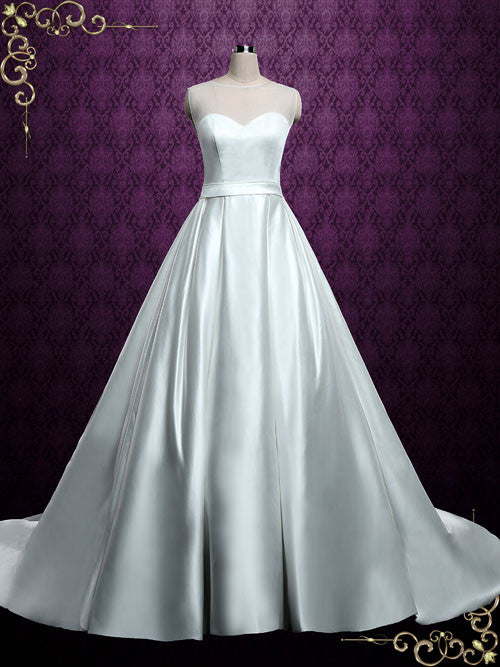Plain Satin Ball Gown Wedding Dress with Illusion Neckline | Ella – ieie