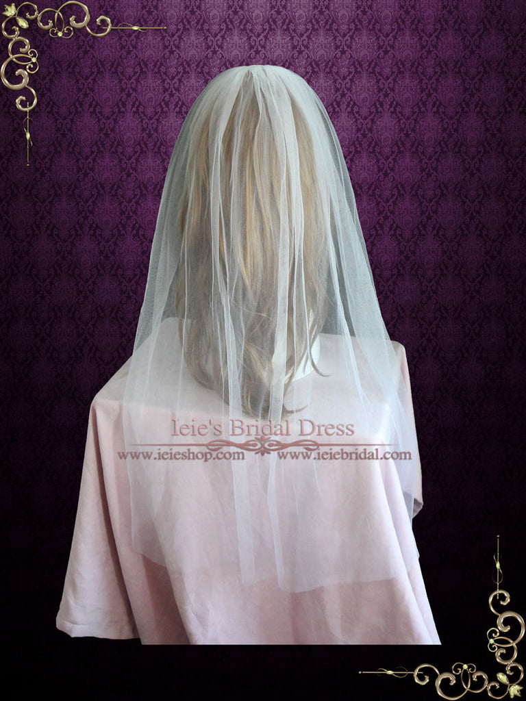 Plain Fingertip Short Tulle Veil with English Net | VG1069