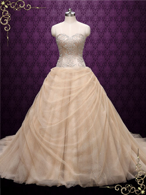 Beauty And The Beast Bridesmaid Dresses: Strapless Champagne Beauty And The Beast Wedding Dress