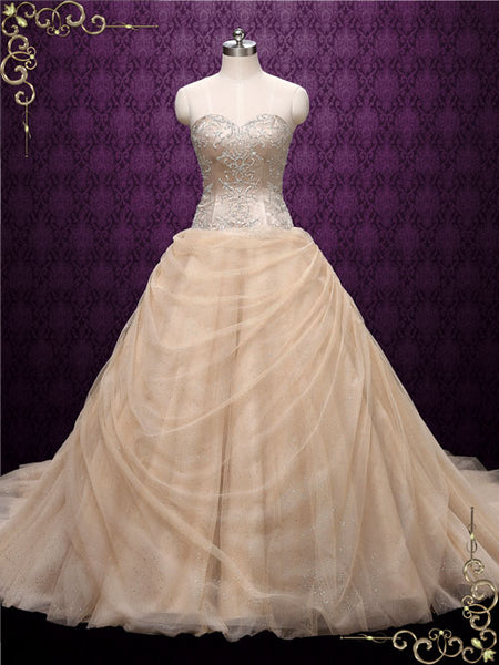 Strapless Champagne Beauty and the Beast Wedding Dress | Belle