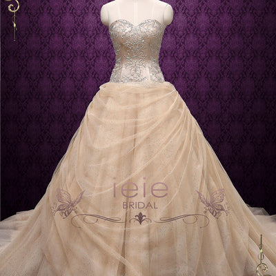 Strapless Champagne Sleeping Beauty Wedding Dress | Belle