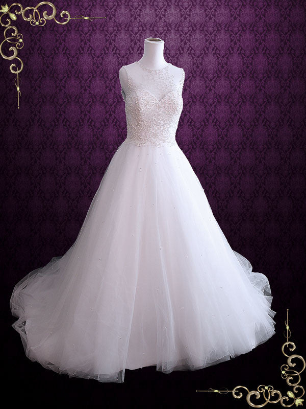 Sleeveless Ball Gown Wedding Dress with Pearls