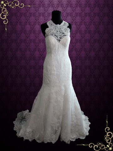 Sleeveless Vintage Style Lace Fit and Flare Wedding Dress with Illusion Keyhole Back | Enma