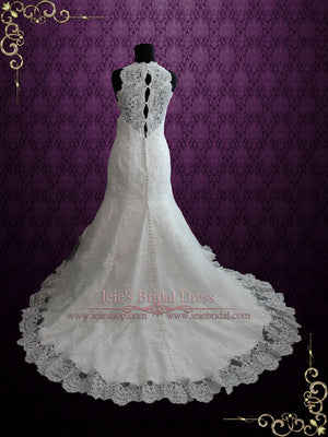 Sleeveless Vintage Style Lace Fit and Flare Wedding Dress | Enma