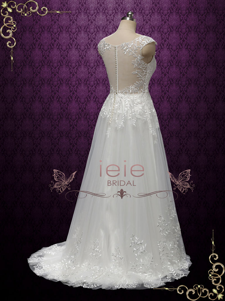 Bobo Lace Wedding Dress with Lace Illusion Back | Ireen
