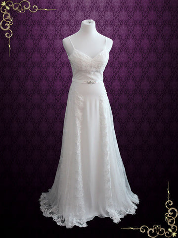 Ready to Ship Size 4 Vintage Style Lace Open Back Chiffon Wedding Dress | Kiana