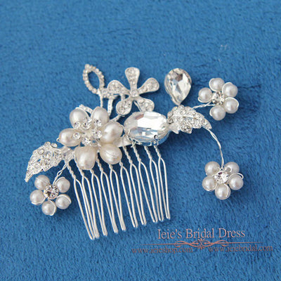 Flower Bridal Comb, Flower Wedding Comb, Crystal Hair Comb | VG1038