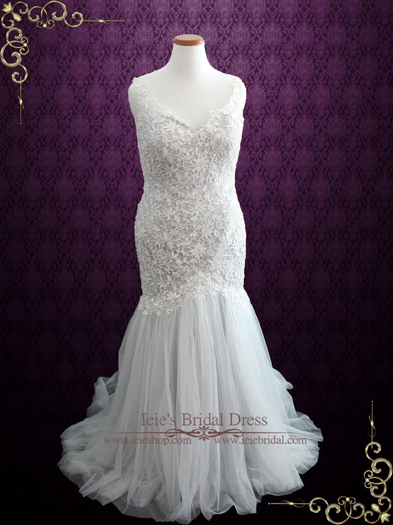 Soft Grey Fit and Flare Lace Wedding Dress with Illusion Back ...