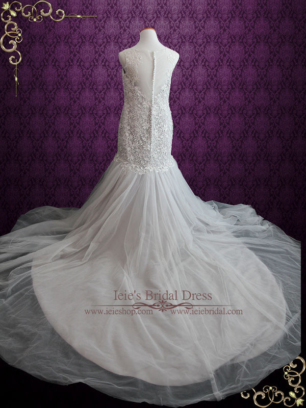 Gray Lace Wedding Dress