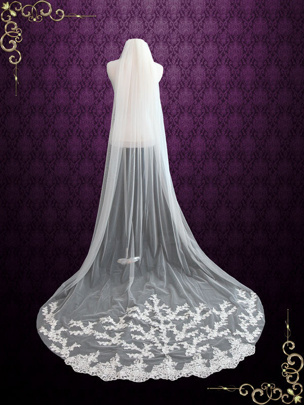Cathedral Length Wedding Veil With Lace Applique At The