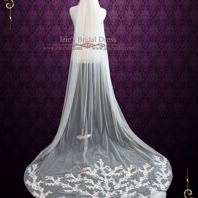 Cathedral Length Wedding Veil with Lace Applique at the End VG1004