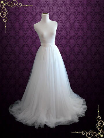 Ready to Ship Size 8 Ivory Wedding Dress Soft Tulle Skirt | Aria