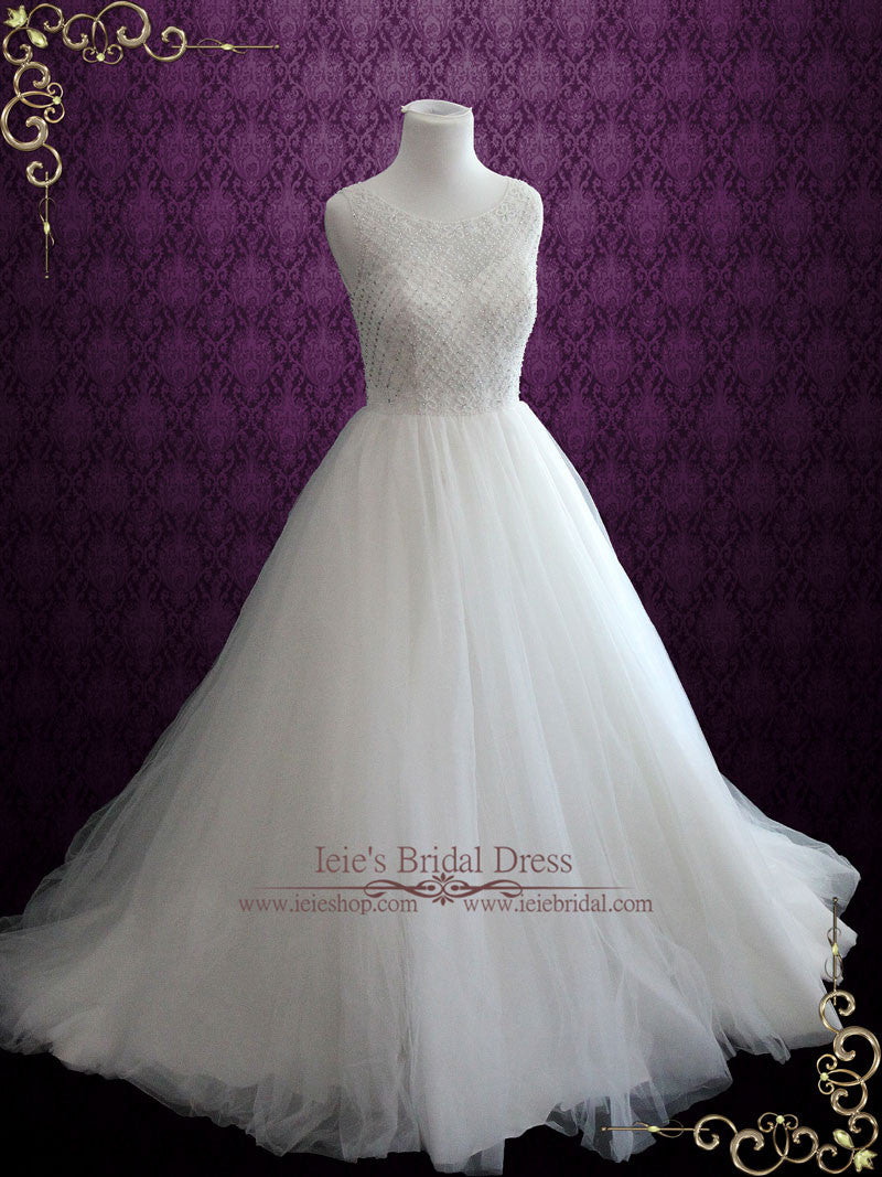 Princess Ball Gown Wedding Dress With Jeweled Bodice And Keyhole