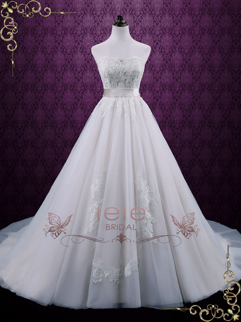 Strapless Princess Tulle Lace  Wedding Dress