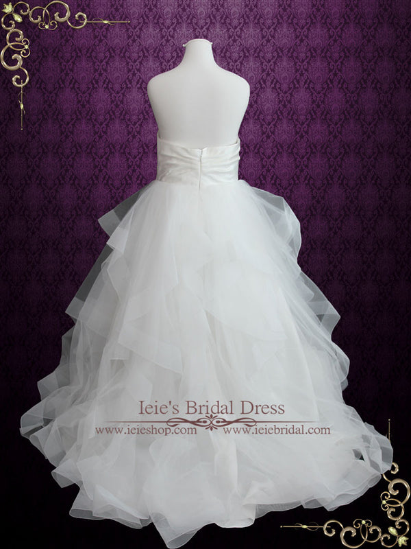 Plus Size Strapless Simple Ball Gown Wedding Dress with Organza Ruffle Skirt | Daphne