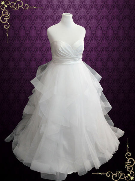 Plus Size Strapless Ball Gown Wedding Dress With Organza