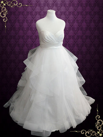 Plus Size Strapless Ball Gown Wedding Dress with Organza Ruffle Skirt | Daphne
