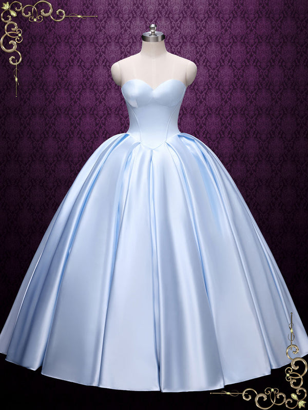 Strapless Blue Ball Gown Wedding Dress | SKY