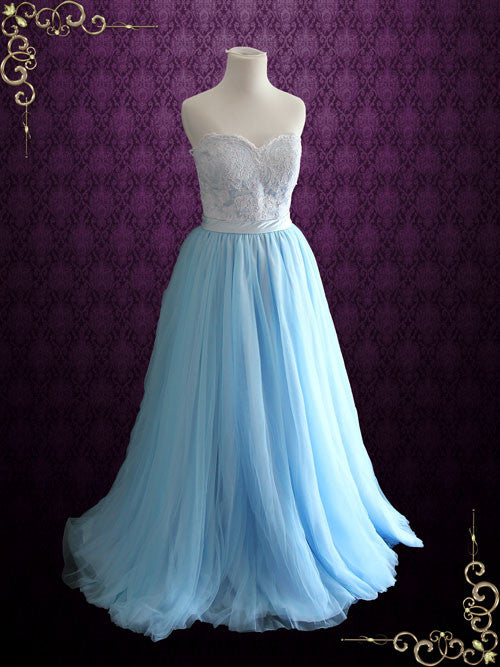 Strapless Blue Lace Formal Evening Dress | Raya