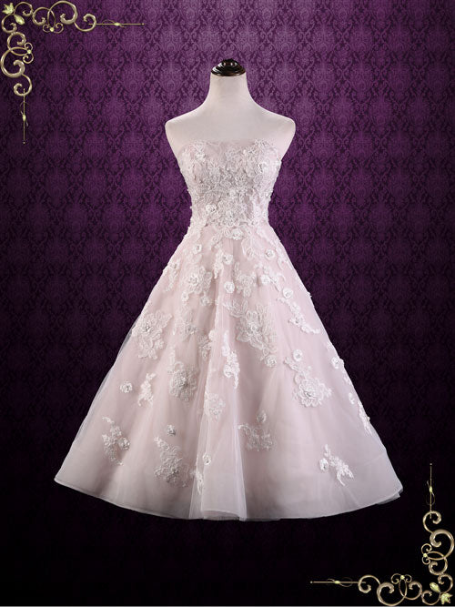 74aaff31a74d Ready to Ship Size 6 Strapless Tea Length Pink Lace Wedding Dress ...