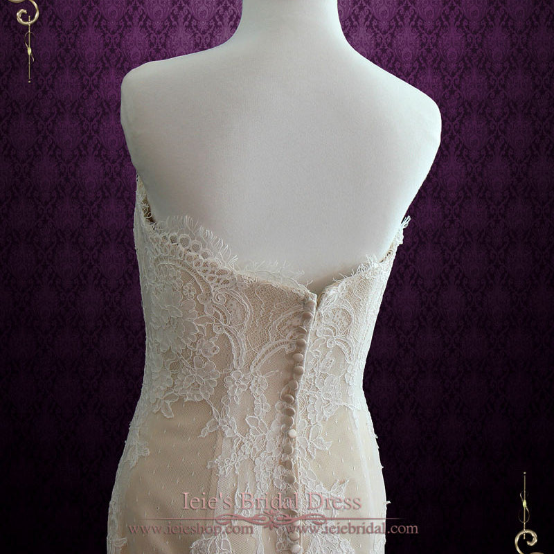 French Lace Mermaid Wedding Dress: Strapless French Lace Mermaid Wedding Dress