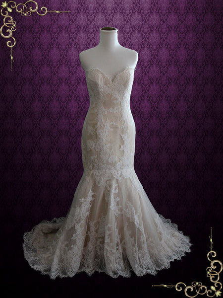 Strapless Champagne French Lace Mermaid Wedding Dress | Nicky