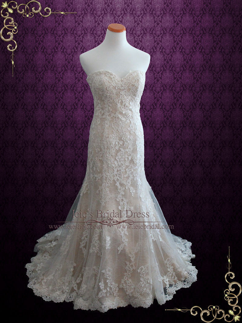 Vintage Style Strapless Lace Wedding Dress With Sweetheart