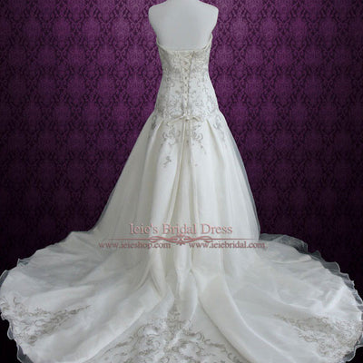 Strapless Sweetheart A-line Wedding Dress with Embroideries and Dropped Waist | Joanne