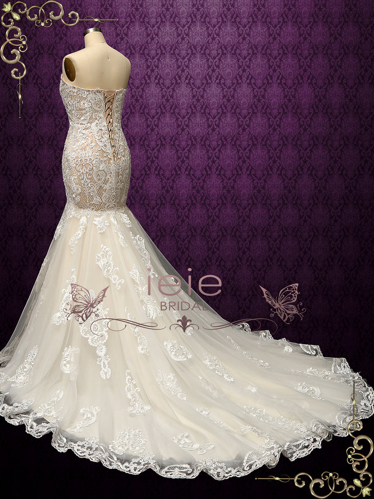 Luxurious Strapless Lace Mermaid Wedding Dress ALESSIA