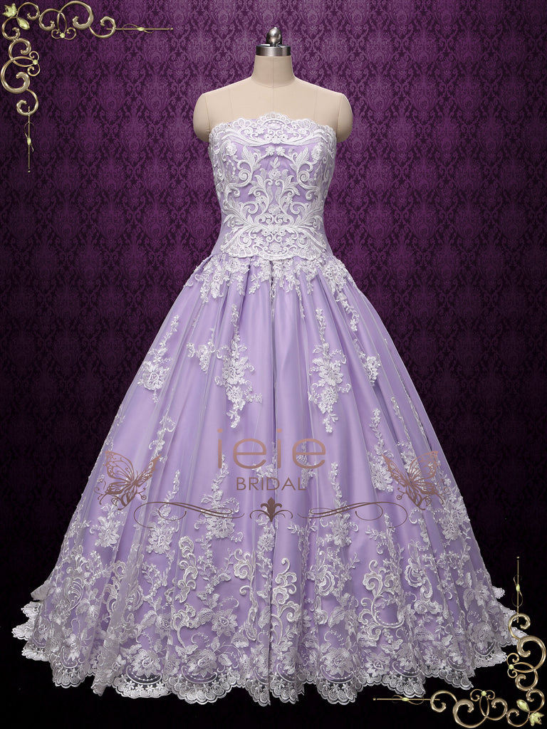 Lilac Strapless Princess Lace Ball Gown Wedding Dress AUGUST