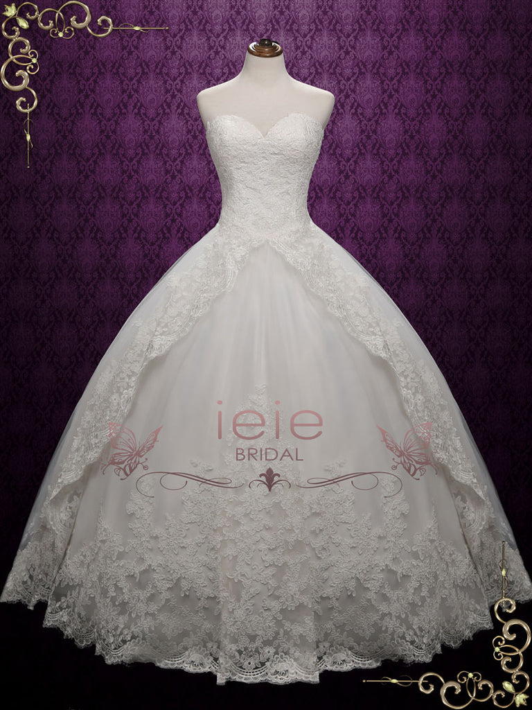 Strapless Ball Gown Lace Wedding Dress | Katrina