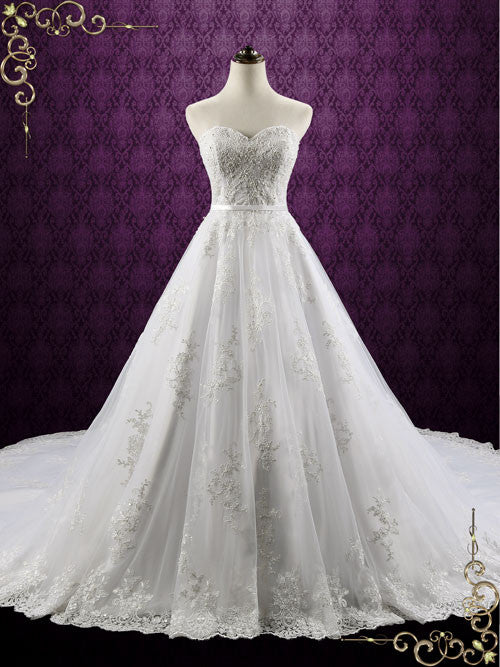Classic Strapless Lace Ball Gown Wedding Dress | Darlene