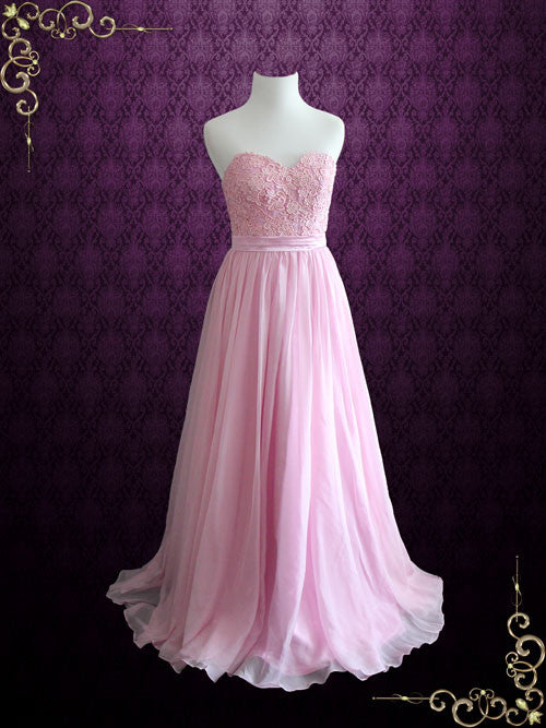 Pink Strapless Lace Chiffon Long Formal Bridesmaid Dress