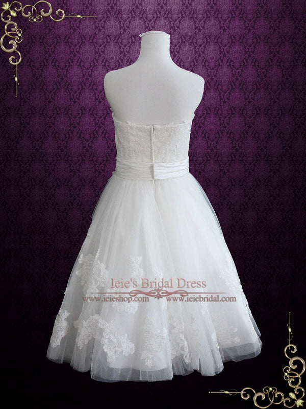 Short Knee Length Lace Wedding Dress