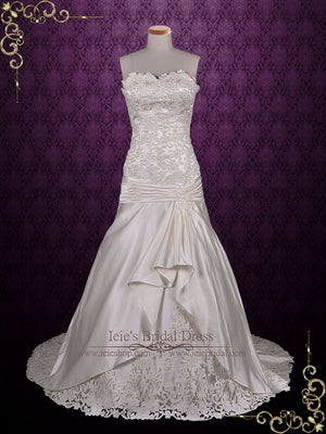 Strapless Satin Lace Wedding Dress with Dropped Waist