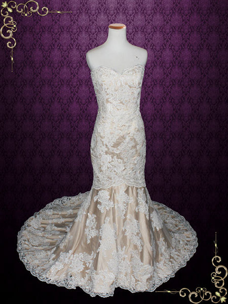 Strapless Sweetheart Ivory Lace Mermaid Wedding Dress with Mocha Lining | Mona