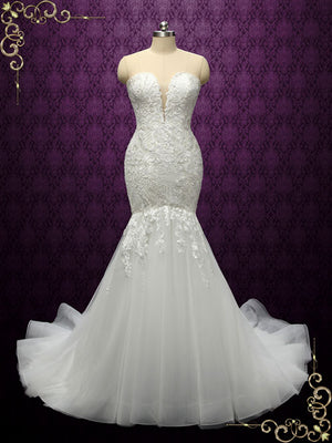 Ivory Boho Strapless Mermaid Lace Wedding Dress | Cinnamon