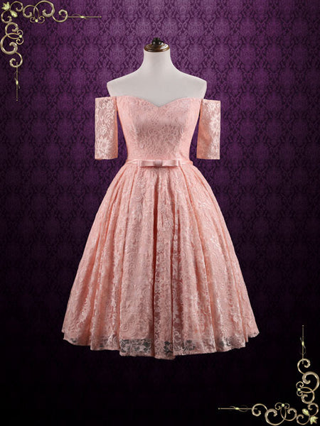 Strapless Tea Length Pink Lace Formal Dress | Brandi