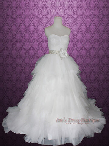 Strapless Princess Ball Gown Wedding Dress with Tulle Layered Ruffles and Jeweled Flower Sash | Sammy